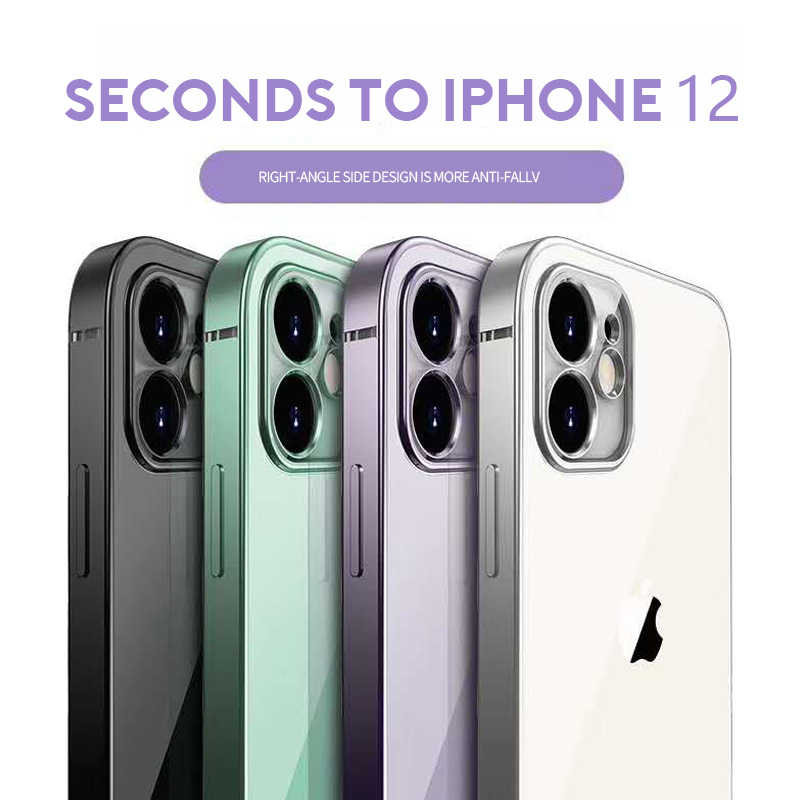 Nueva carcasa cuadrada para iPhone 11 12 Pro 11Pro XS Max Clear Cover para iphone 7 8 Plus XR XS funda trasera transparente