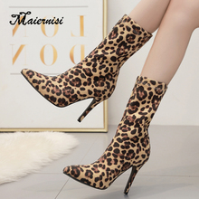 MAIERNISI Spring high heel leopard print ankle boots sexy women winter pointed shoes casual knitting