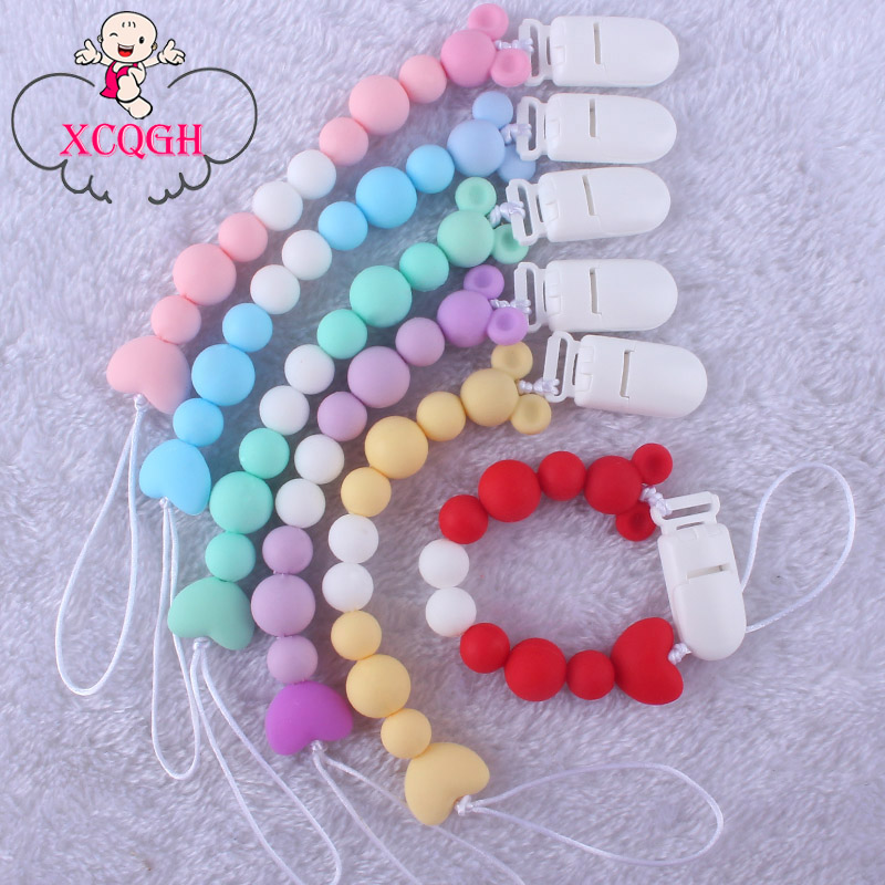 XCQGH Baby Silicone Pacifier Chain DIY Silicone Baby Molar Beads Multi-color Pacifier Chain Clip