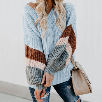 Women Pullover Sweater Autumn Winter Casual Loose Lantern Sleeve Patchwork Knitwear Long Sleeve V-neck Knitted Sweater Tops seily winter 2019 letter computer knitted yellow turtleneck sweater women zipper high neck long sleeve knitwear pullover sweter