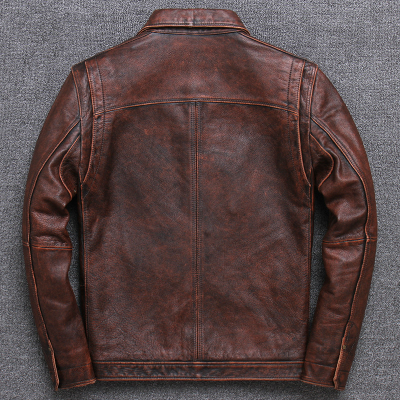 Genuine Leather Jacket Men Vintage Cowhide Leather Coat Spring Autumn 100% Real Cow Leather Jackets Veste Cuir Homme