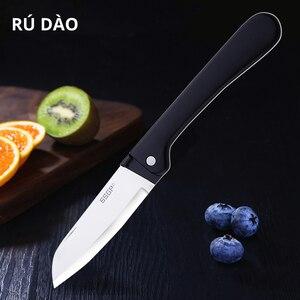 Image 1 - Couteau pliant de cuisine, couteau de poche en acier inoxydable, Mini couteau pliant Portable coupe fruits, couteau de Camping, outil de survie en plein air