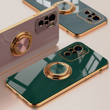 Beautiful plating Case For Xiaomi Redmi Note 10 case 10S Silicone Ring Stand Holder color Cover For Redmi K40 Pro Note 9T 5G