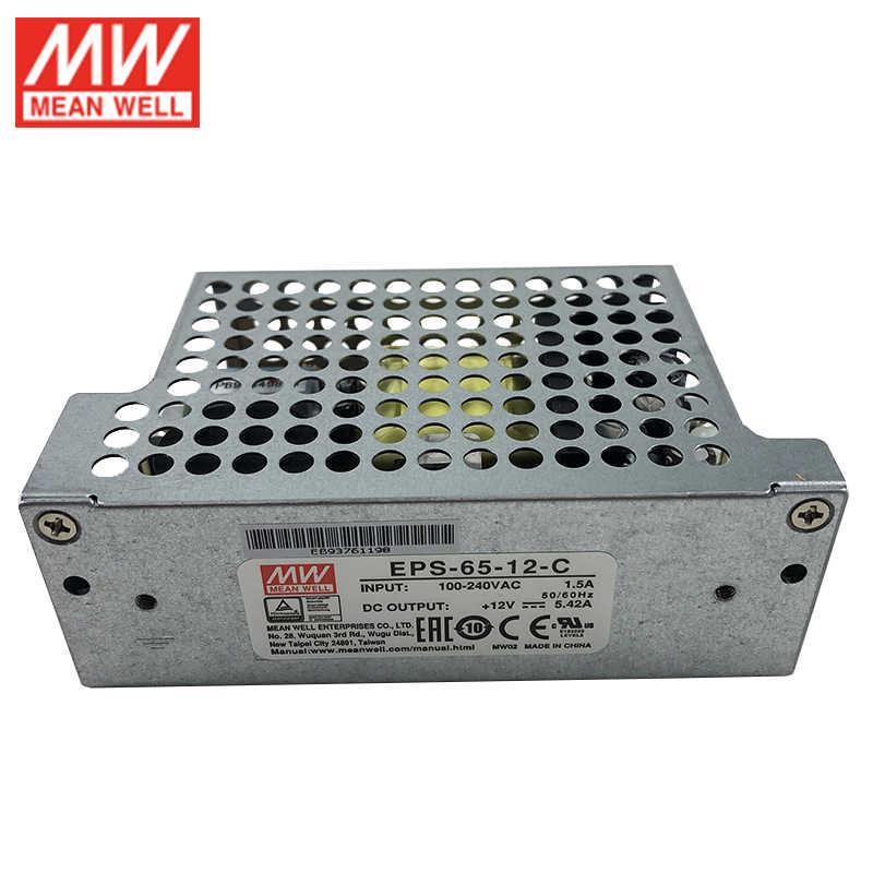 MEAN WELL EPS-65-12-C 65W 12V zasilacz impulsowy 110 V/220VAC do 12V DC 5.42A zasilacz typu zamkniętego z pokrywą