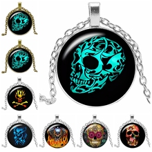 2019 New Halloween Death Skull Pattern Series Glass Convex Pendant Necklace Fashion Domineering Jewelry Gift