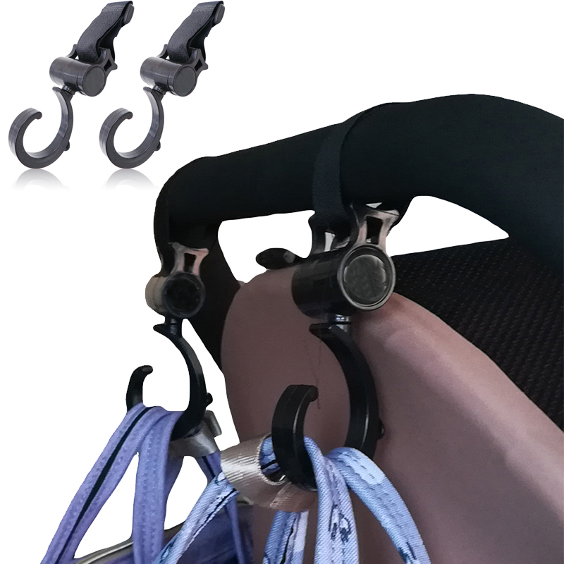 2pcs/lot Baby Hanger Multifunction Baby Bag Stroller Hooks Carriage Pram Black Rotate 360 Degree Cart Plastic Hook Accessories