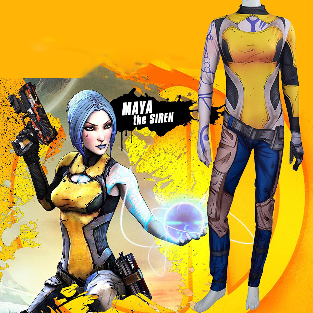 From Game <font><b>Borderlands</b></font> 3 Maya The Siren Cosplay <font><b>Costume</b></font> Maya Bodysuit Zentai Tight Jumpsuits Halloween <font><b>Costume</b></font> For Girls Adults image