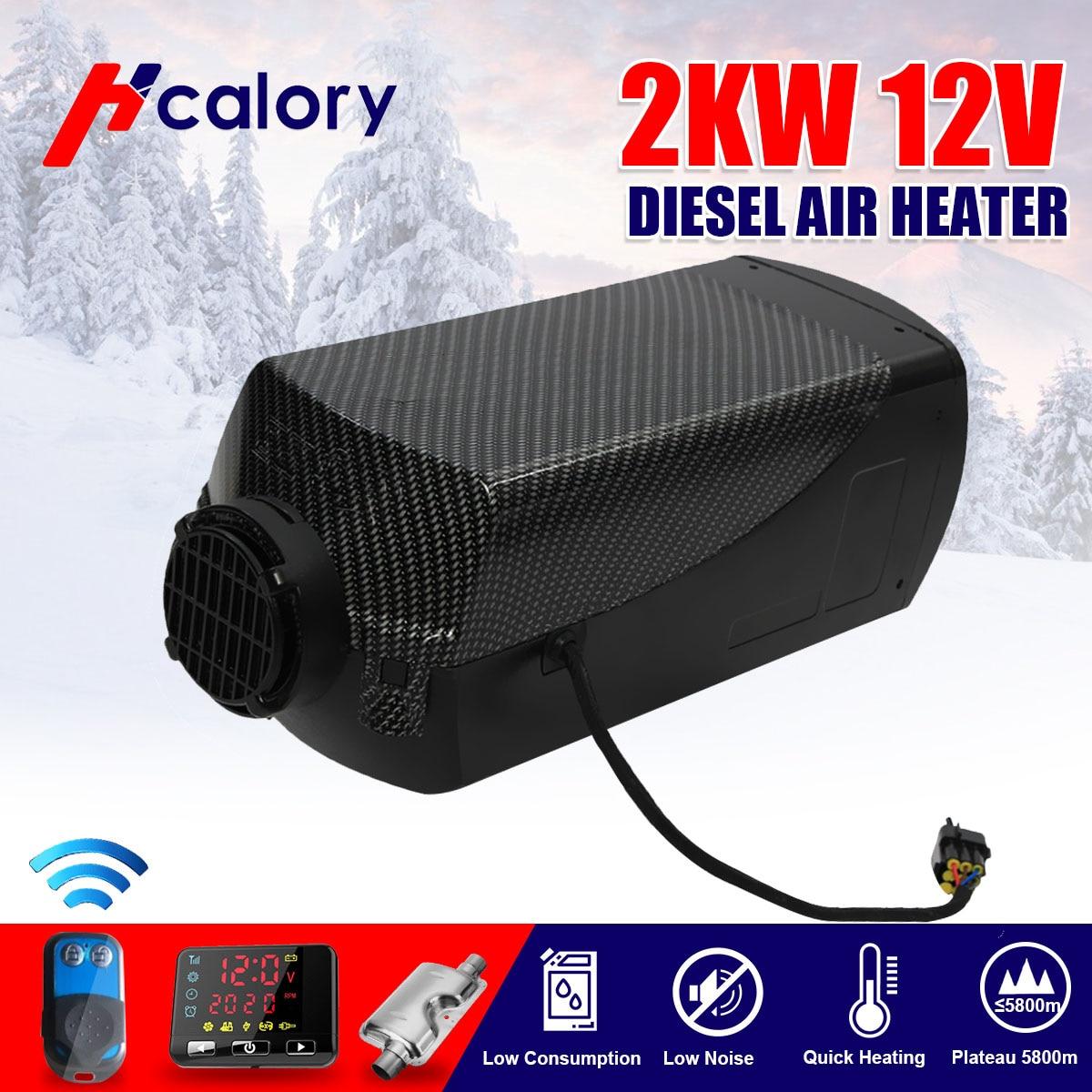 Voiture chauffage 12V 2KW pour Webasto Diesels chauffage 2000W voiture chauffage LCD moniteur + silencieux pour RV voiture camion moteur maison bateau Motorhom