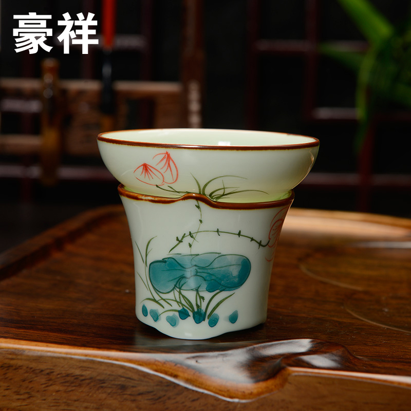 [GRANDNESS] Jingdezhen Handpainted Celadon Tea Strainers Ceramic Filter Mesh Tea Strainers Tea