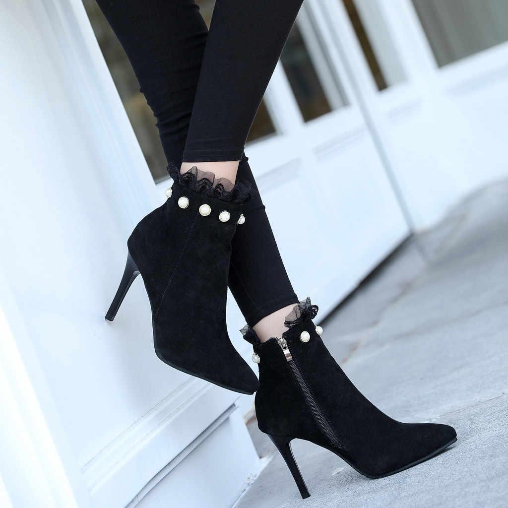 Pointed Toe Pearl ลูกไม้สั้นผู้หญิงสบายๆบางรองเท้าส้นสูง Zipper ข้อเท้ารองเท้าสำหรับสุภาพสตรีรองเท้าผู้หญิงฤดูหนาว Botas mujer