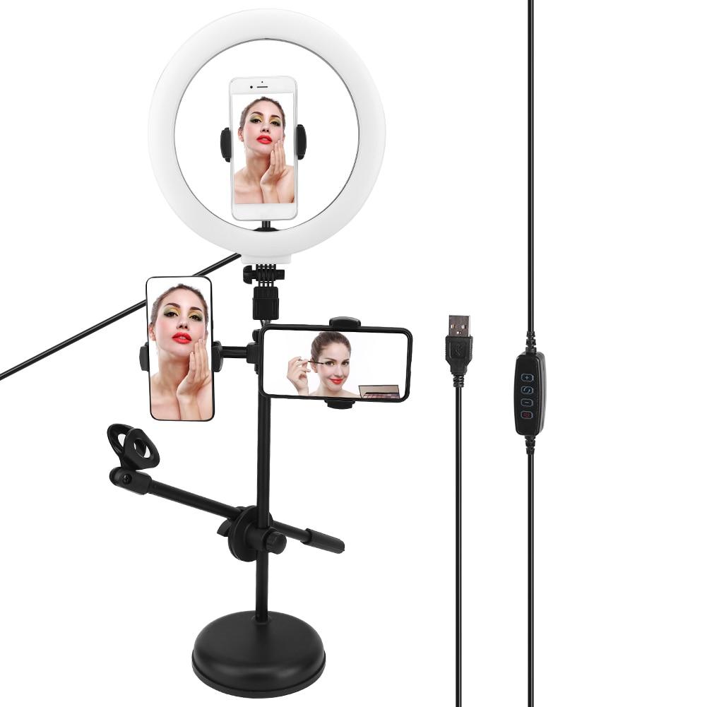 Mobile Phone Flashes   Live Broadcast Selfie LED Ring Light 10 Gears Adjustable Brightness Stepless Dimming Phone Clip Bracket