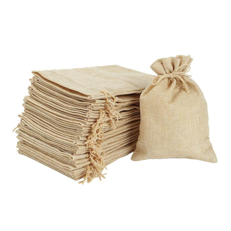 100 Pcs 5X7 Inch Burlap Bags With Drawstring Jute Drawstring Bags For Party Favors Wedding Party Favor & Gifts