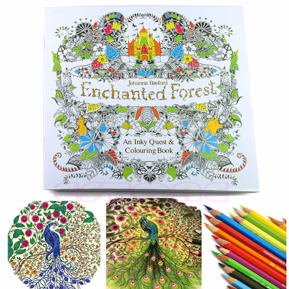 New Children Adult Enchanted Forest English Version Drawing Coloring Book