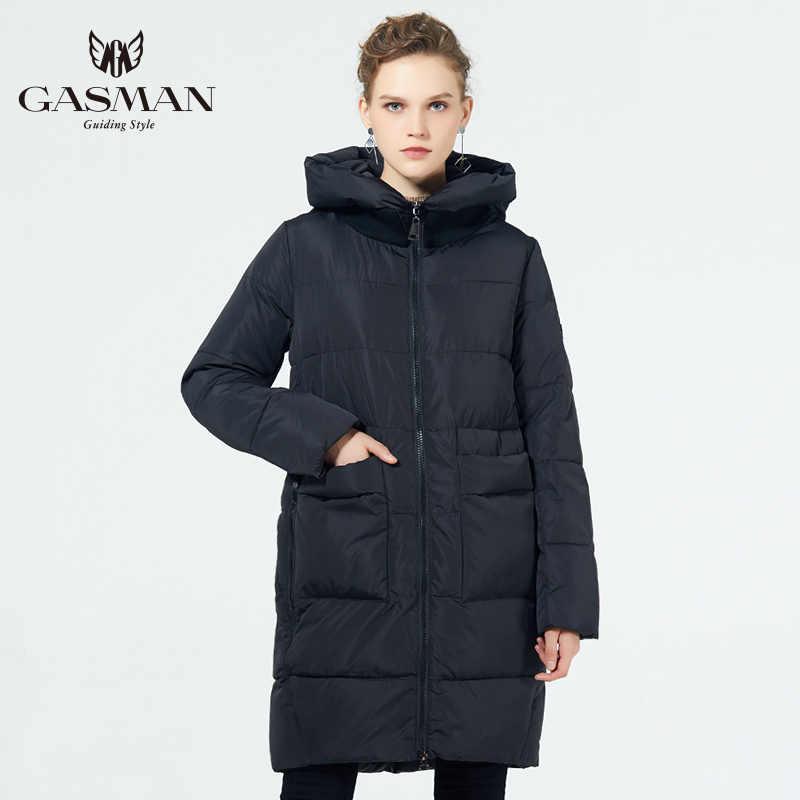 GASMAN 2019 модная куртка женская теплая парка с капюшоном био пух пальто большой размер 5XL 6XL женский пуховик новая зимняя коллекция