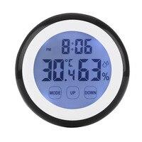 Hot Plastic Digitale Temperatuur Vochtigheid Tijd Functie Wandklok Indoor Weerstation Meter Tester Lcd Backlight Klokken