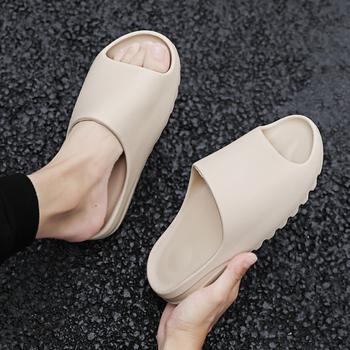 W nowym stylu kapcie mężczyźni moda lato jednolity kolor dorywczo domowy kapeć buty Eva wtrysk antypoślizgowe buty plażowe slajdy tanie i dobre opinie Indoor Mieszkanie (≤1cm) Pasuje prawda na wymiar weź swój normalny rozmiar light Stałe Dla dorosłych 7585 NONE