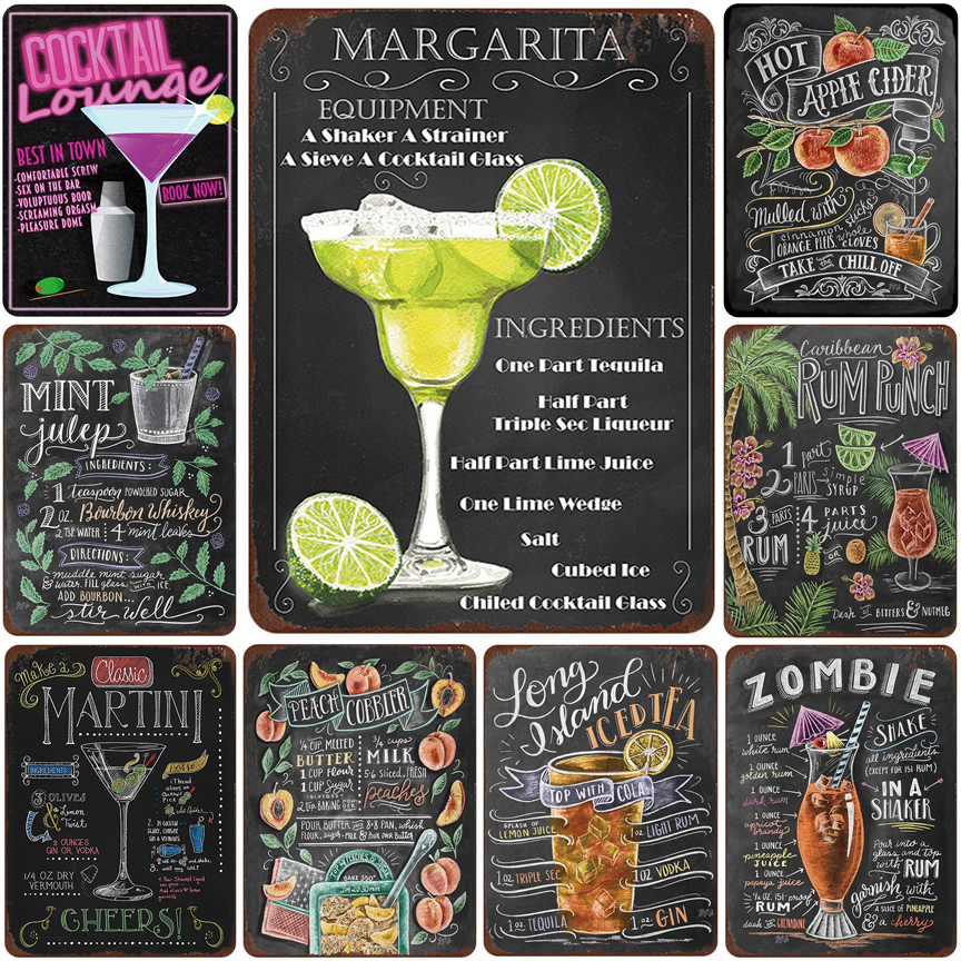 Cocktail lounge Margarita Martini metal sign vintage tin plate retro iron painting wall decoration for bar pub cafe image