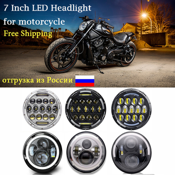 7 Led Motor Headlight For Harley bike with 4-1/24.5 Passing Lamp Fog Lights for Harley Touring Electra Glide Softail Fat Boy