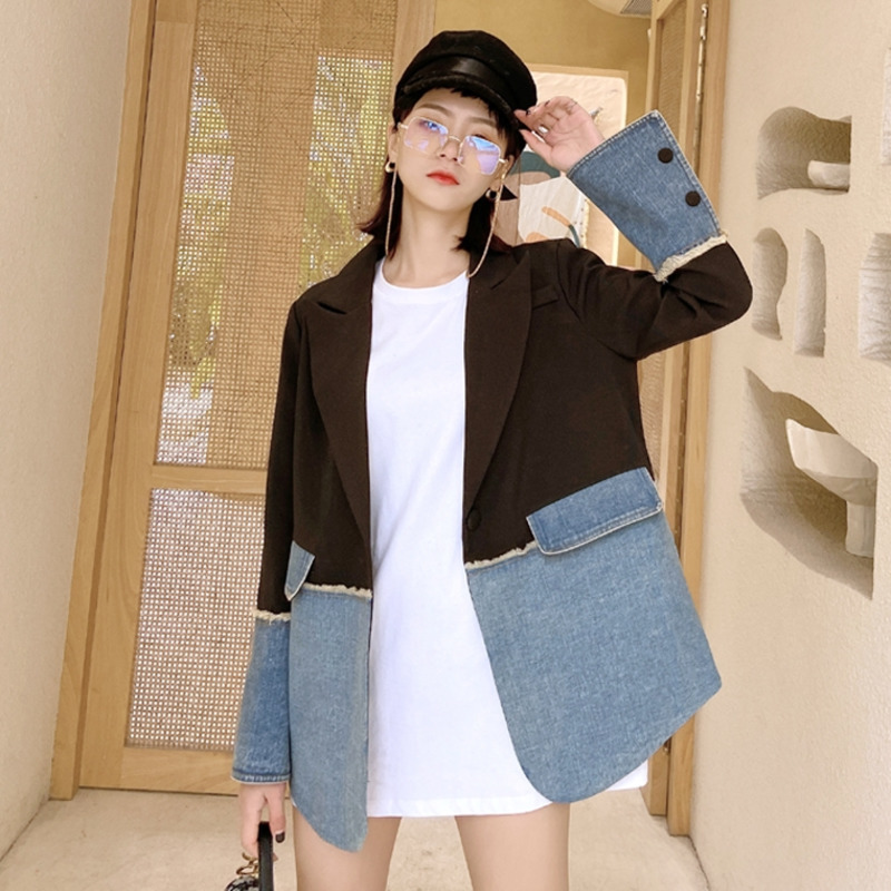 LANMREM 2020 New Spring Suit Collar Hit Collar Blazer Women Vintage Loose Denim Irregular Splice Korea Slim Casual Coat PD387