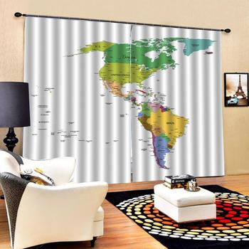 world map curtains 3D Window Curtain Dinosaur print Luxury Blackout For Living Room Decoration curtains