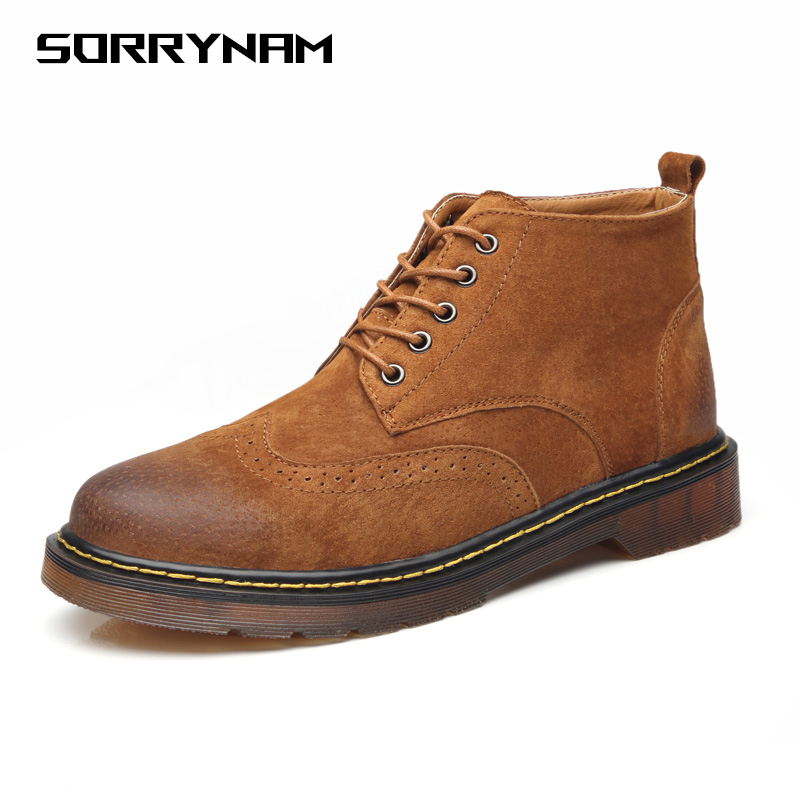 Men Ankle Boots Dr. Martens Men Ankle Boots Leather Oxford Sole Bullock Men Martin Boots Lace-up Male  Motorcycle Cowboy Boots