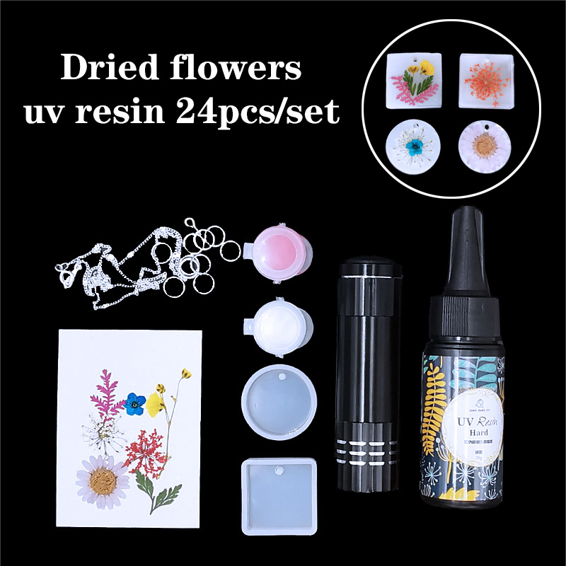 24Pcs/Set UV Resin Casting Mold Kit Pendant Silicone Mould Making Epoxy Resin Molds For Jewelry DIY Pearls And Jewels