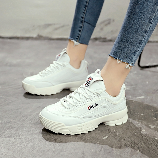 2020 Brand Women Leather Thick-soled Sports Shoes Woman Zapatillas Mujer Wedge Running Shoes Fashion Designers White Sneakers