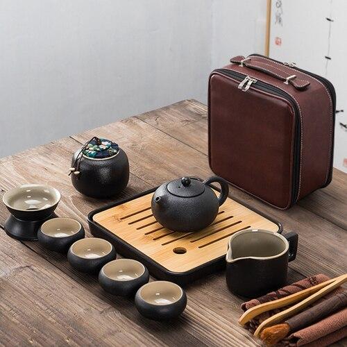 일본 검은 도자기 쿵후 차 세트 휴대용 양복 여행 차 세트 13 조각 세트 빠른 여객 컵의 4 컵 한 냄비