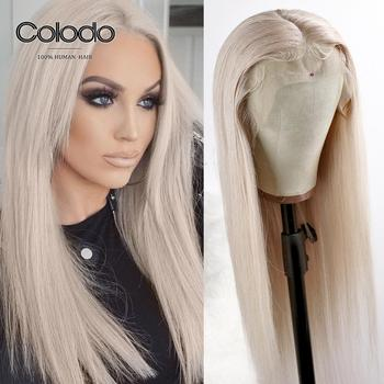 COLODO Pre Plucked Ash Blonde Human Hair Wigs Remy Hair Straight Lace Front Wig Glueless Transparent Lace Wigs for Women