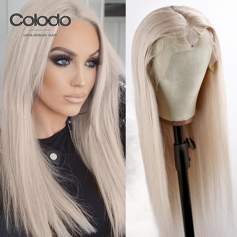 COLODO Preplucked 150% Ash Blonde Human Hair Wigs 13X4 Straight Lace Front Wig Brazilian Remy Transparent Lace Wigs For Women