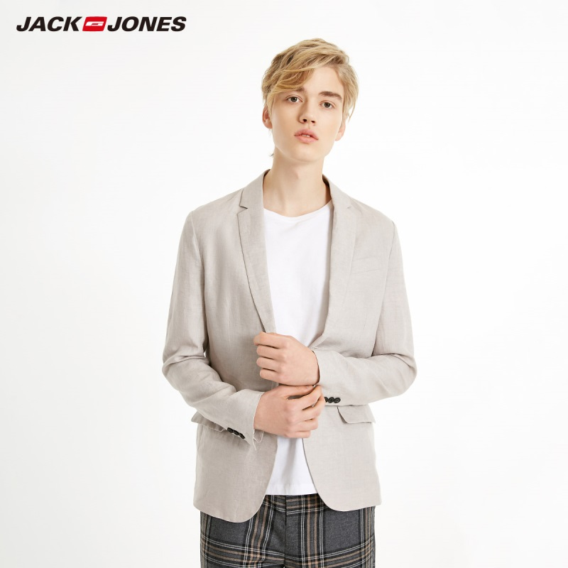 JackJones Men's Linen Suit Jacket Comfortable Blazer Basic Menswear 219108505