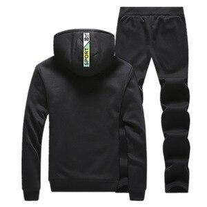 Image 4 - Winter Tracksuits Men Fleece Thick Hoodies Set Casual Sportswear 2019 Mens clothing Hoodie+Sweatpants Sports Suit 2 Piece Set