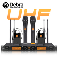 Top quality!!!Debra Audio D 240 4 Channel Handheld or Lavalier & Headset UHF Wireless Microphone System For speech Karaoke party