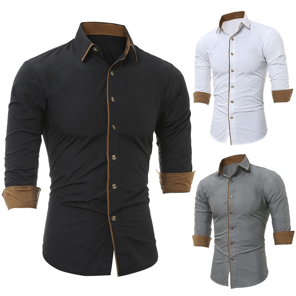 Casual mens shirts regular fit Shirt Men Solid Color Turndown Collar Long Sleeve Shirts Buttons Down Shirt Men's Top