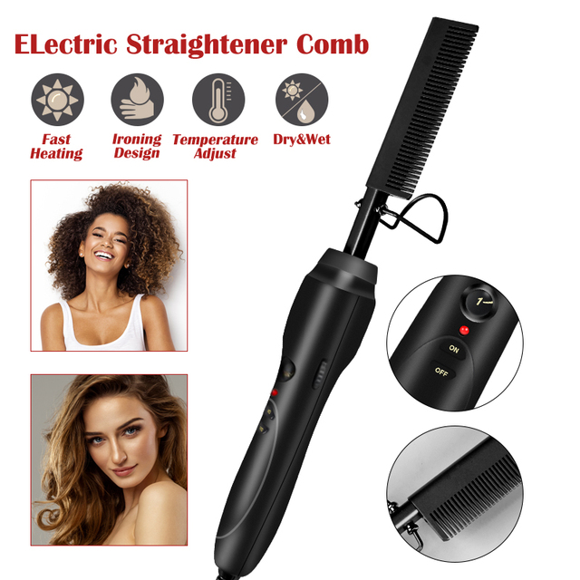 Hair Straightener Flat Irons Straightening Brush Hot Heating Comb Hair Straight Styler Corrugation Curling Iron Hair Curler Comb 1