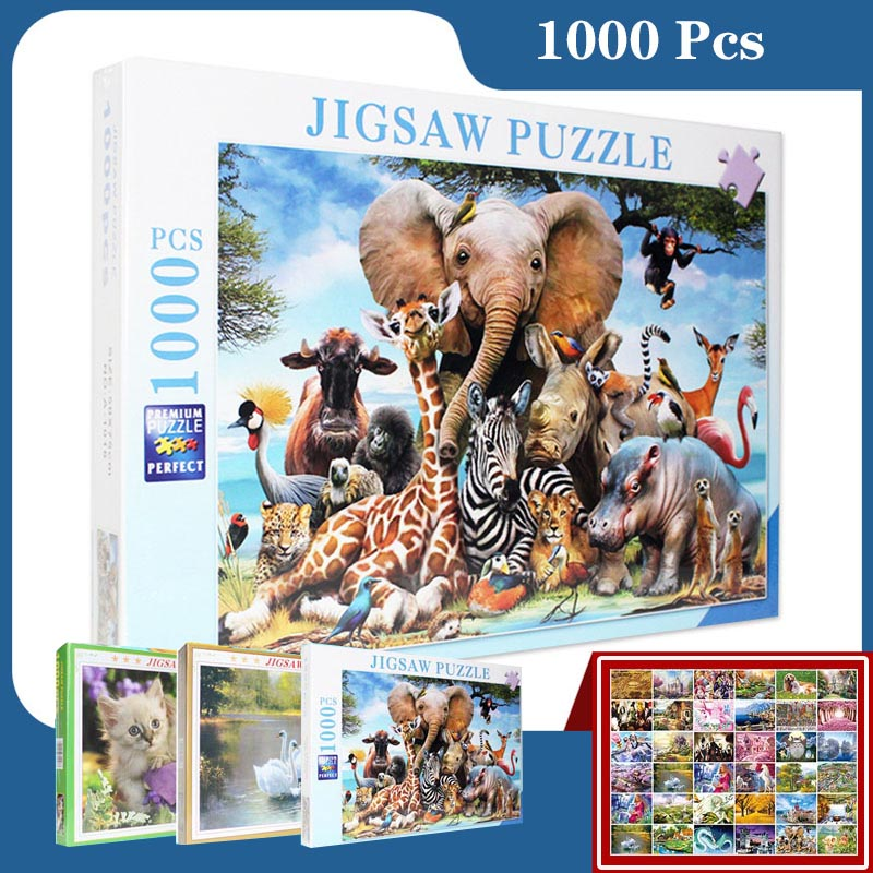 Animal Series Puzzle 1000 Pieces Elephant Kitty Owl Elk Educational Toys Puzzles For Kids Puzzles For Adults Rompecabezas Toy