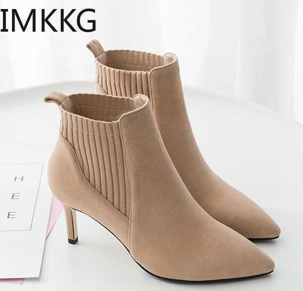 2019 streç çorap çizmeler kadın ayakkabıları yüksek topuklar üzerinde kayma moda ayakkabılar kadın yarım çizmeler F90384