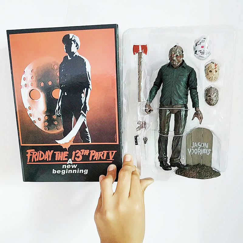 18cm Original NECA  Friday Part 5 The 13th PartV Part5 A New Beginning Jason Voorhees PVC Action Figure  Model Toys Doll Gift