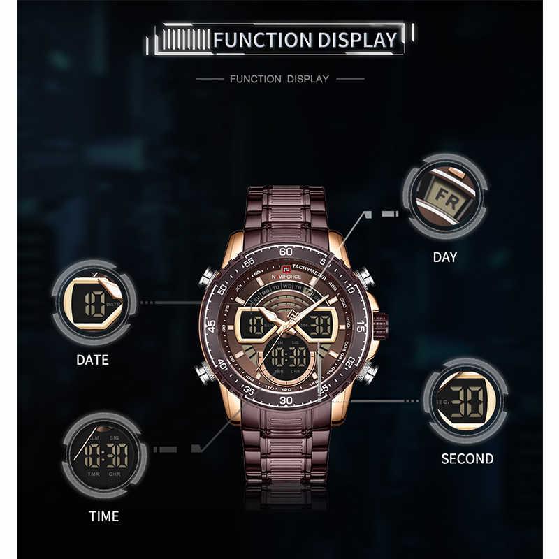NAVIFORCE militaire hommes sport montres de luxe Quartz numérique chronographe horloge bracelet en acier étanche montre-bracelet Relogio Masculino