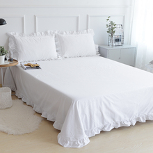 Three-piece Linens cotton bed sheet pillowcase Twin size bedding set for home Bedspread on the bed white with lace edge ruffles