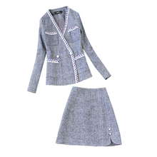 Winter new womens suits two-piece suit New double-breasted double-pocket blazer female High waist half skirt Office set