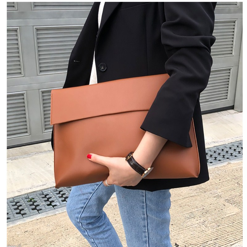 New Fashion 2019 Women Briefcase Luxury Handbags Envelope Large Evening Clutch Purse Bags Leather Designer Soild Brown Black