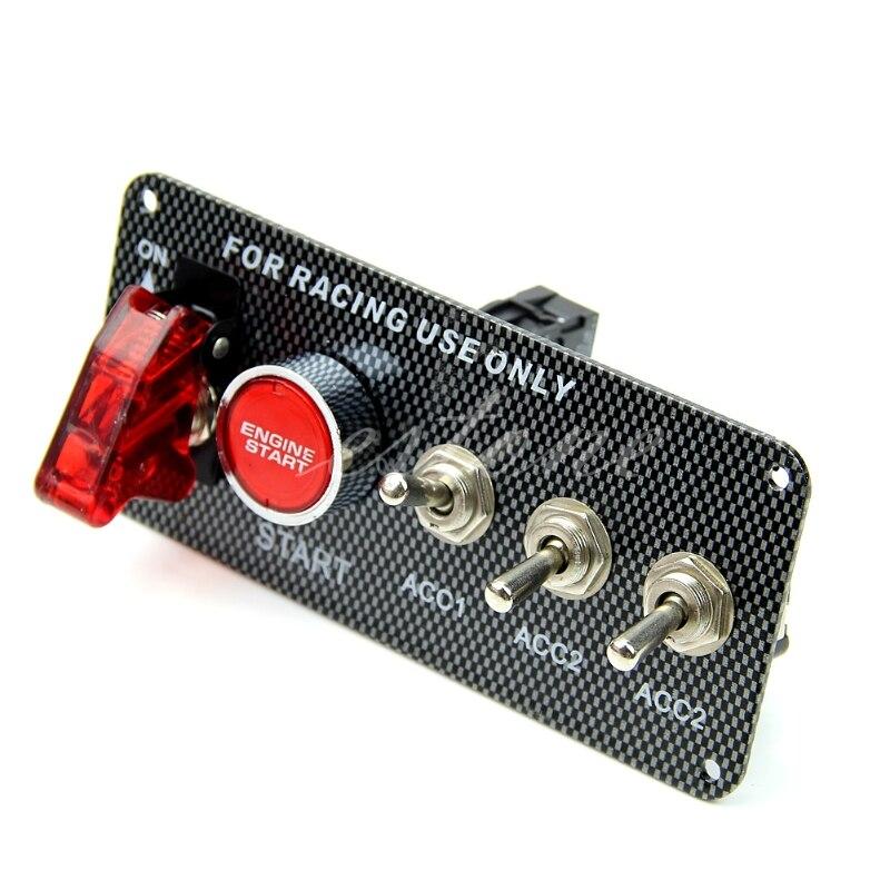 Racing Car 12V Ignition Switch Panel Engine Start Push Button LED Toggle 2