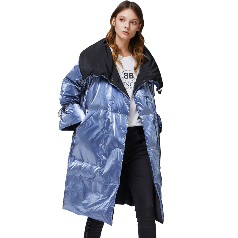 New Fashion Women's 90%White Duck Down Jacket Zippers Glossy Wide-Waisted Silver High Quality Metallic Fashionable Warm Coat