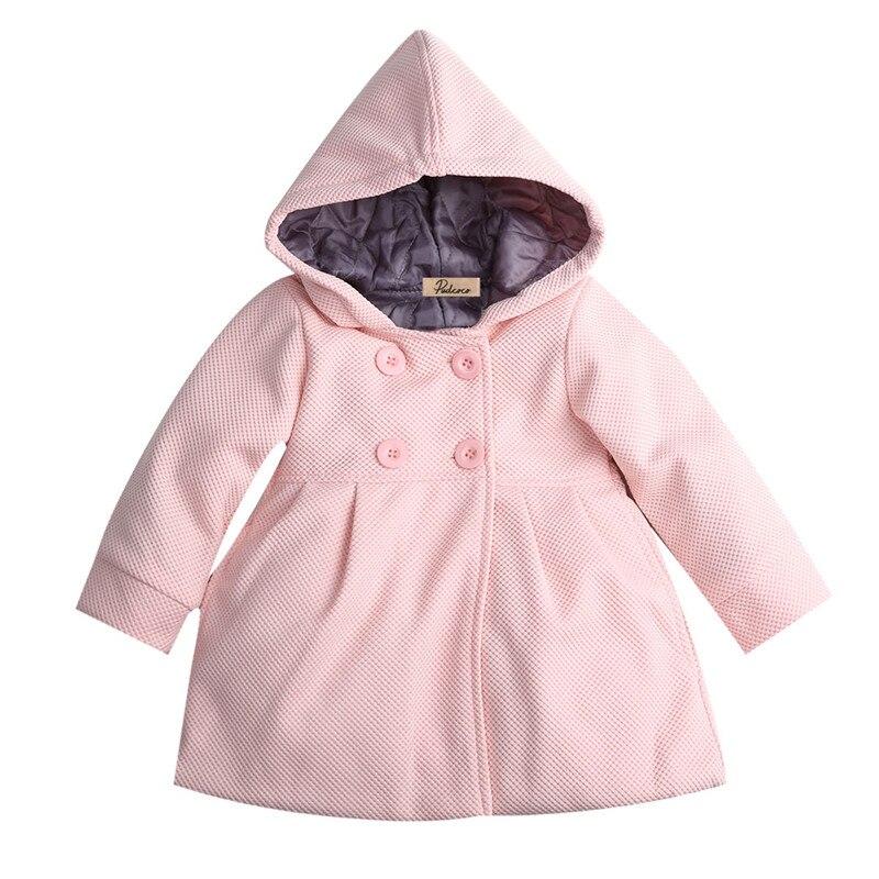 От 6 месяцев до 3 лет Одежда для маленьких девочек зимние пальто для маленьких девочек пальто для девочек зимнее длинное теплое пальто Верхняя одежда с капюшоном зимняя куртка, одежда - Цвет: Розовый