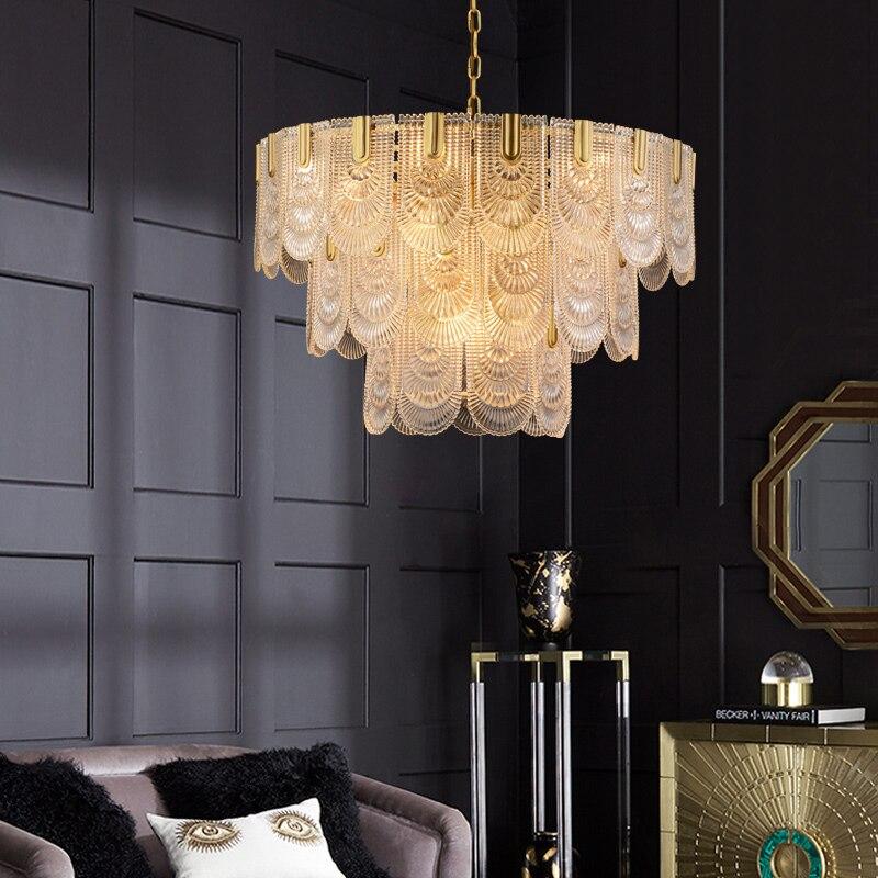 Американская Роскошная медная стеклянная хрустальная люстра, светодиодная люстра, современный Ретро стиль, для гостиной, столовой