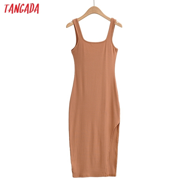 Tangada Women Solid Knit Tank Dress Square Collar Sleeveless 2021 Fashion Lady Sexy Midi Dresses Vestido 4P34 1
