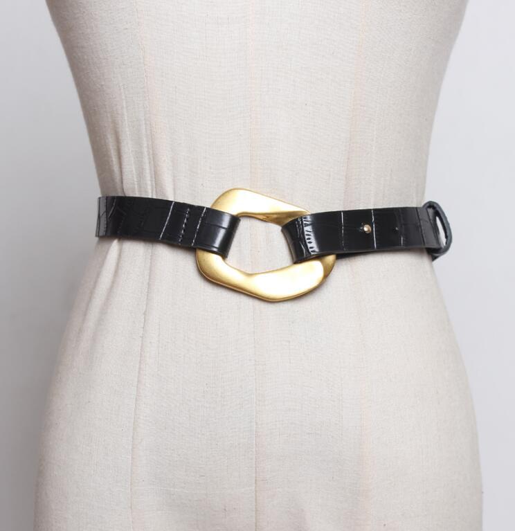 Women's Runway Fashion Irregular Buckle Pu Leather Cummerbunds Female Dress Corsets Waistband Belts Decoration Wide Belt R2552