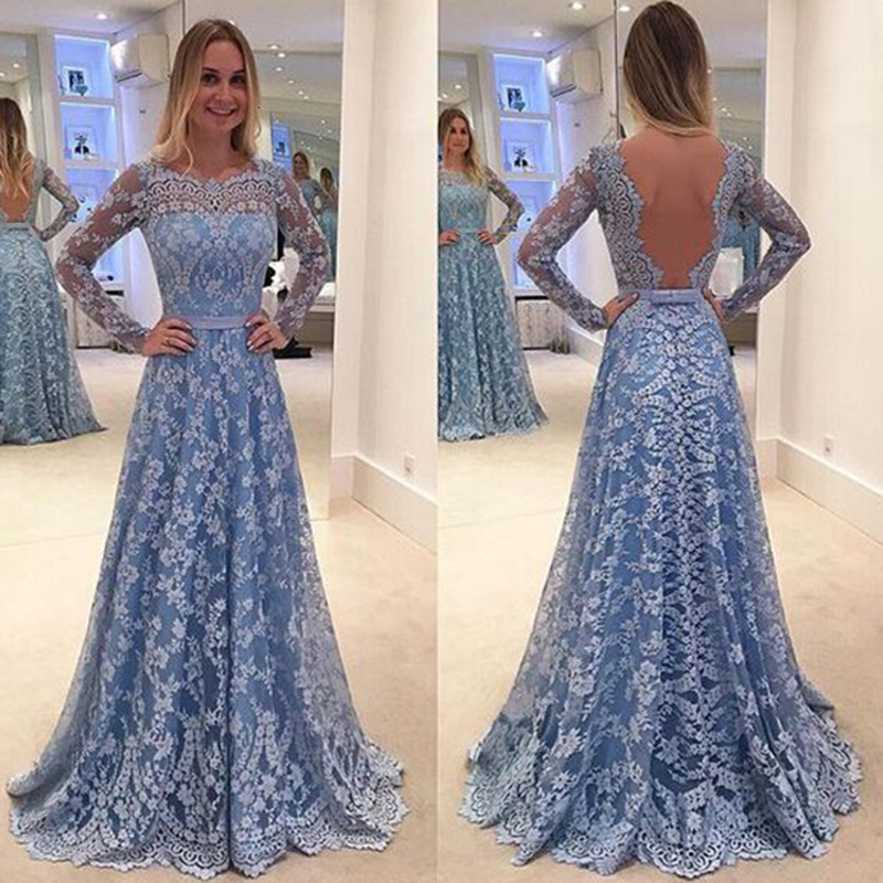 BacklakeGirls Sexy Backless Long Sky Blue Mesh Patchwork Bow Lace Evening Dress Party Formal Dresses Vestidos