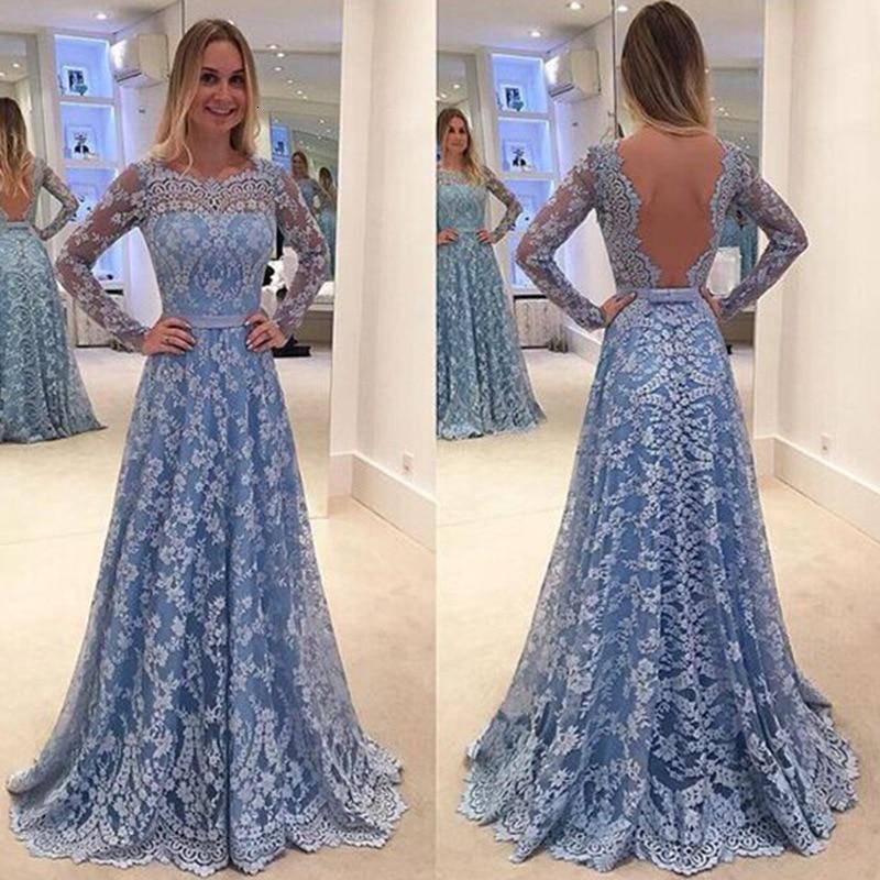 BacklakeGirls Sexy Backless Long Sky Blue Mesh Patchwork Bow Lace Evening Dress Party Formal Dresses Vestidos